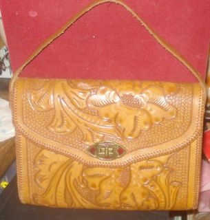 Vintage Hand Tooled Leather Handbag Lovely