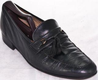 Men Bally black leather work dress casual tassel loafer shoe 8 5 EEE