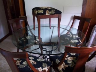 Ethan Allen Wrought Iron Table 54 Glass Top 4 Wood Chairs and Stool