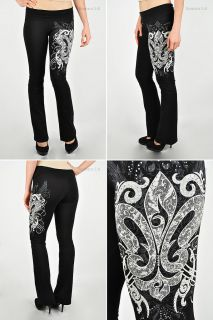 Fleur De Lis Yoga Pants (High Quality) Black Various Size S M L