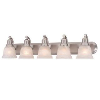 New 5 Light Bathroom Vanity Lighting Fixture Brushed Nickel White