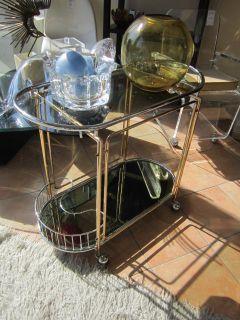 Modern Rolling Bar Cart Brass Glass and Chrome