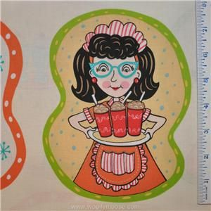 Half Yard Elizabeths Studio Barbaras Diner Waitress Retro Fabric 1 2