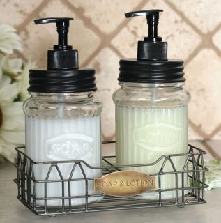 Soap Lotion Dispenser Bath Caddy Organizer Accessory Set