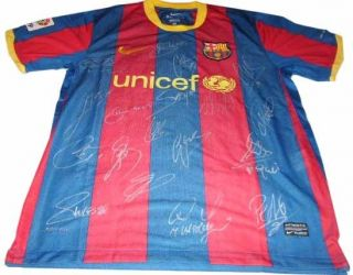 Barcelona Signed Autographed Short Sleeved Football Soccer Jersey