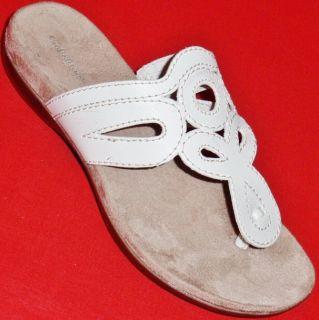 New Womens Croft Barrow Rita White Flats Slides Sandals Casual Dress
