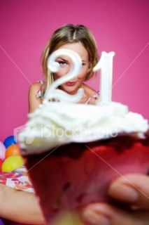 Young Woman Holding 21 Birthday Cake Royalty Free Stock Photo