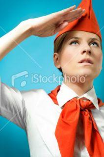 Russie, Communisme, Femmes, Ex URSS, Faire le salut militaire  Stock