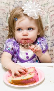 Young child celebrating her first birthday Royalty Free Stock Photo