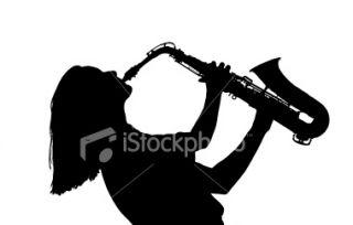 Saxophone, Silhouette, Jazz, Musique, Femmes Photo libre de droits