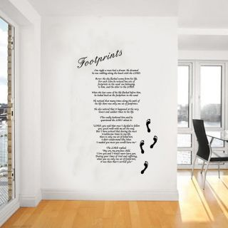 Footprints in the Sand Giant Wall Art, Poem, Decal, Mural,Stickers