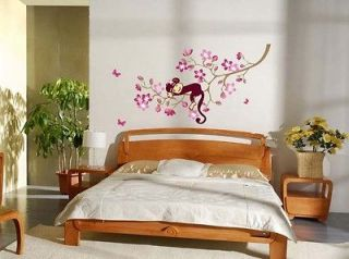 Monkey&Pink Flower Blossom Tree Reusable Wall stickers Girl Kid