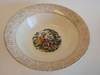 Vintage Cronin China Gold Floral Romantic Pastoral Scene Round