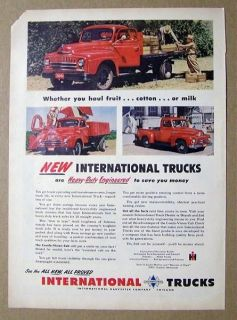 1950 International Truck Ad HEAVY DUTY FLAT BEDS, STAKE AND PICK UPS