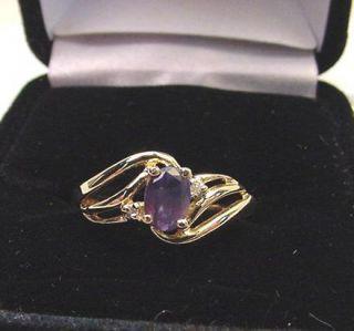 natural alexandrite diamonds vintage 10k gold ring