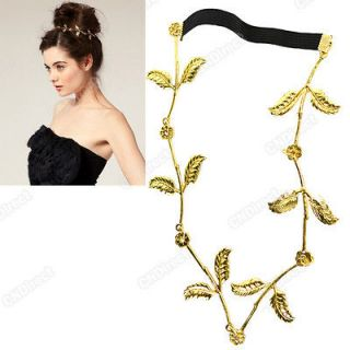 Women Leaf Grecian Festival Garland Hippy Head Hair Band Gold Forehead