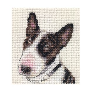 BULL TERRIER dog, puppy ~ Full counted cross stitch kit + All