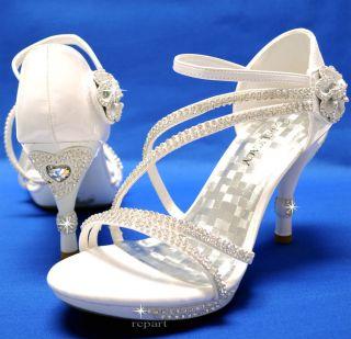 New womens shoes high heel stilettos rhinestones velcro wedding prom
