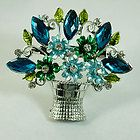 Lady Decent Flower Vase Silver Plated Teardrop Leaf Gemstone Brooch
