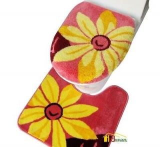 Sunflower Bath Mat Set Contour Mat+Toilet Lid Cover+Seat Cover Pads
