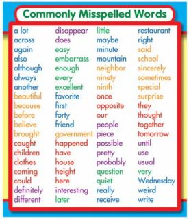 Commonly Misspelled Words Stickers 2012, Cards,Flash Cards