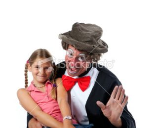stock photo 10353908 clown and little girl