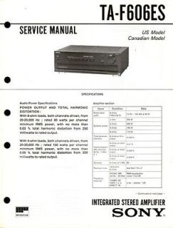 Newly listed Sony Original TA F606ES Amplifier Service Manual.