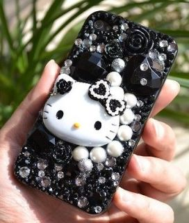 3D New Bow Hello Kitty Black Gem DIY Bling iPhone 4 4S 5 5g Case Deco