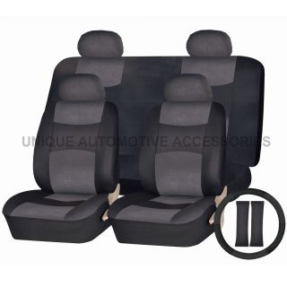 DODGE RAM CHARGER PU LEATHER ALL BLACK SEMI CUSTOM SEAT COVERS BENCH