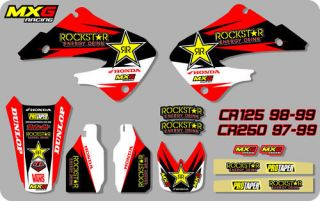 ROCKSTAR MOTOCROSS MX GRAPHICS STICKERS DECAL KIT HONDA CR125 98 99