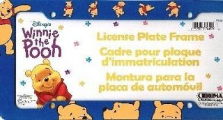 Plastic WINNIE THE POOH License Plate Frame & FREE Pooh Decal and