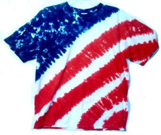 NEW SMALL Red White & Blue AMERICAN FLAG Hand dyed TIE DYE T SHIRT