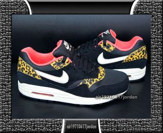 Nike Wmns Air Max 1 Print Leopard Black Gold Yellow 319986 026 UK 2.5