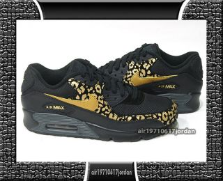 2012 Nike Wmns Air Max 90 Black Metallic Gold Leopard 325212 023 UK 3