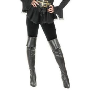 black leather thigh high pirate boots cover more options size time