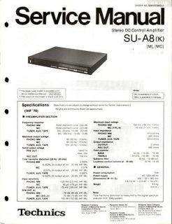 Technics Original SU A8 Amplifier Service Manual.