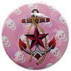 Anchor Skull Compact Mirror Rockabilly Tattoo Punk New Nautical Pin Up