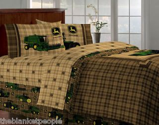 new john deere tractor plaid full 6pc bedding set includes