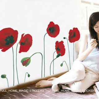 RED POPPY FLOWERS Wall Stickers Mural Art Decals Wallpaper Reusable