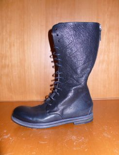 MARSELL Womens Black Lace Up Combat Leather Boots, sz 39/40 NIB