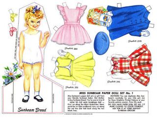 vintage miss sunbeam paper doll set 1950 s repro time