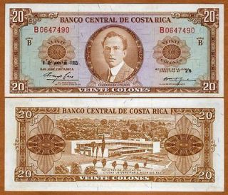 costa rica 20 colones 1965 p 231 unc scarce time left $ 139 00 buy it