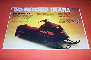 80 ski doo elan 250 snowmobile poster vintage sno machine