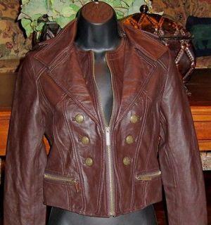 victorias secret $ 258 military leather jacket xs chestnut