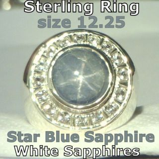 Blue Star Sapphire White Sapphire Halo Handmade Sterling Gents Ring