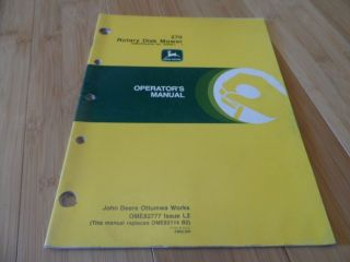 john deere 270 rotary disk mower operators manual # ome82777
