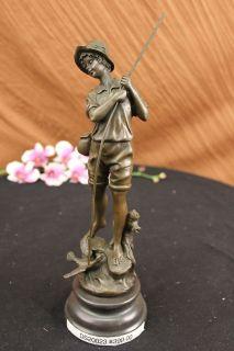 Signed Original Milo Boy Fishing With Duck Bronze Sculpture Statue