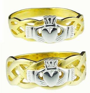14K Gold Sterling Silver Celtic Claddagh Band Wedding Ring Set Made