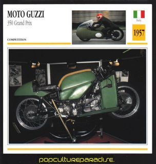1957 moto guzzi 350 grand prix motorcycle picture card from