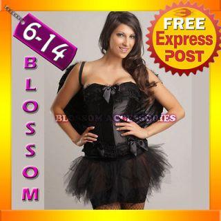 1121 Ladies Black Gothic Dark Angel Halloween Corset Tutu Costume